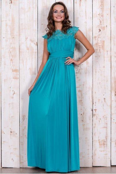 Бирюзовое вечернее платье с кружевом