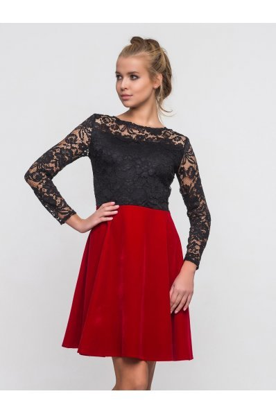Нарядное платье черный верх + красный низ