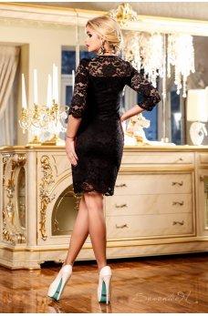 Нарядное черное платье из гипюра