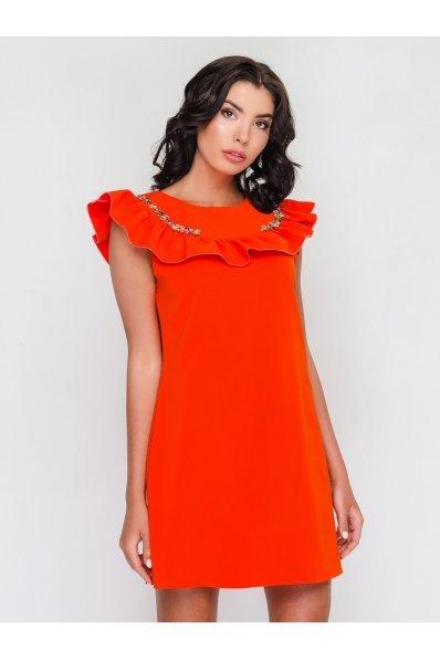 Нарядное оранжевое платье с воланом