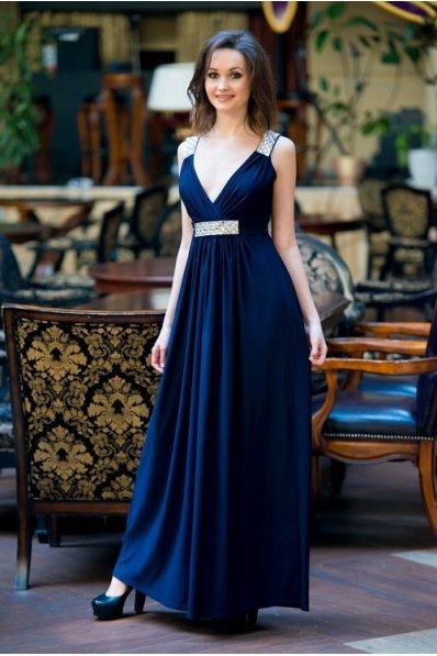 Нарядное длинное платье темно-синий