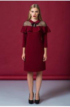 Нарядне плаття винного кольору з воланом