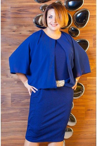 Нарядное синее платье с шифоновыми рукавами