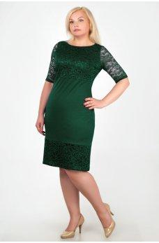 Нарядное темно-зеленое платье с гипюром