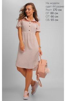 Нежное розовое платье в горох
