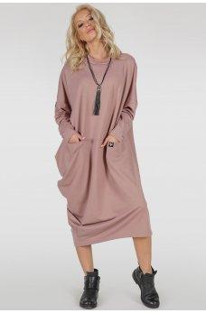 Нюдовое платье оверсайз ассиметричного покроя