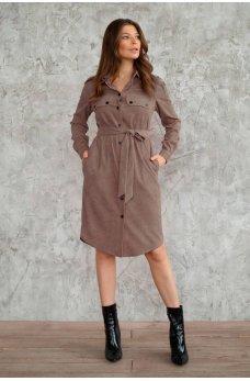 Платье рубашка кофейного цвета из вельвета