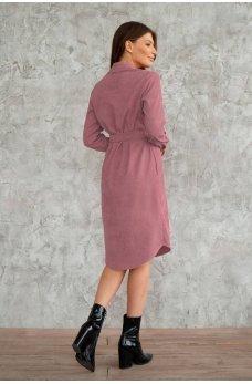 Платье рубашка розового цвета из вельвета