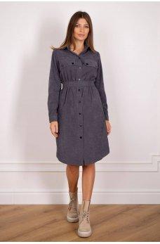 Платье рубашка темно-серого цвета из вельвета