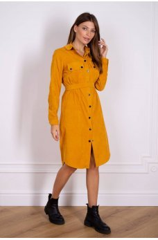 Платье рубашка горчичного цвета из вельвета
