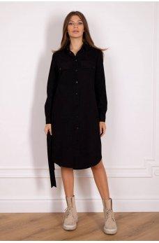 Платье рубашка черного цвета из вельвета