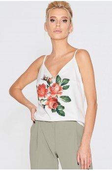 Белая гламурная майка с цветочным принтом