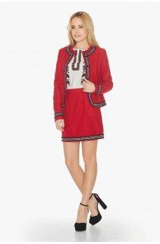 Красный стильный женский  жакет с тесьмой