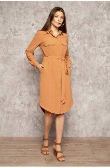 Терракотовое практичное женское платье с поясом