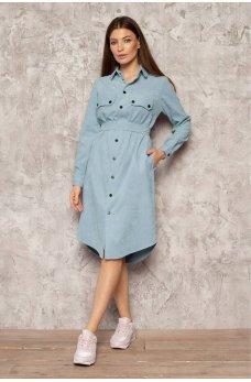 Голубое вельветовое стильное платье-рубашка с поясом