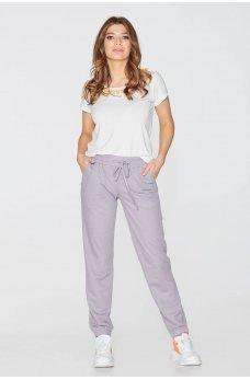 Серые трикотажные женские спортивные брюки