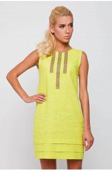 Желтое короткое льняное платье с принтом
