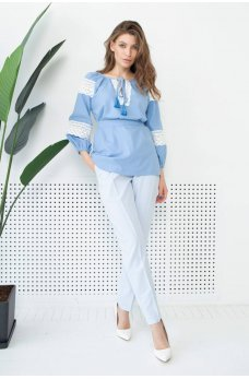 Голубая нежная атуальна блуза