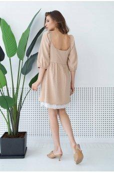 Бежевое очаровательное женское платье с кружевом
