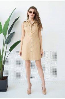 Бежевое летнее платье мини на пуговицах