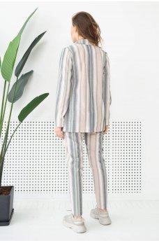 Бежевые молодежные полосатые брюки