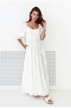 Молочное легкое воздушное платье макси