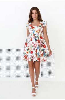 Цветочное гармоничное платье мини молочного цвета