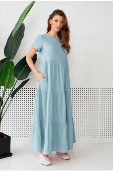 Голубое универсальное длинное женское платье