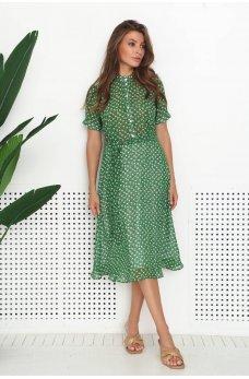 Зеленое летнее трендовое платье с принтом