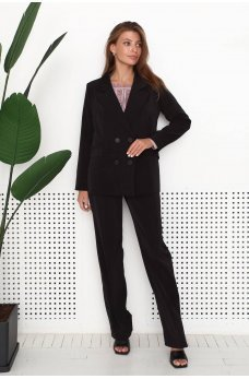 Черные брюки в деловом стиле с пуговицами