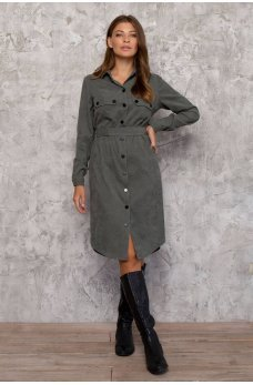Оливковое вельветовое платье-рубашка миди