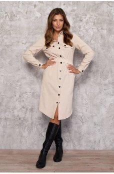Бежевое стильное платье-рубашка на кнопках