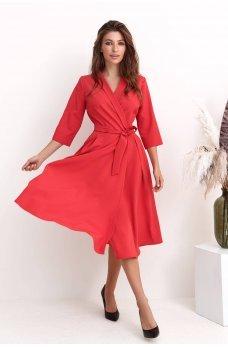 Красное нарядное элегантное платье миди на запах