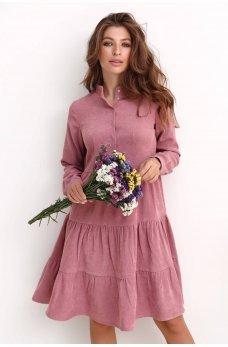 Пудровое уютное вельветовое платье с карманами