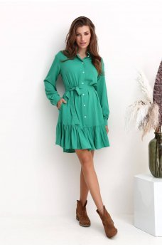 Зеленое практическое платье мини с оборкой