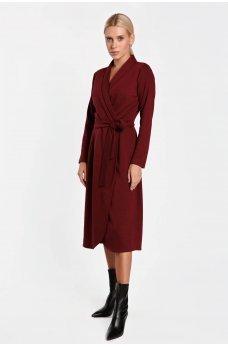 Бордовое сдержанное женское платье миди на запах