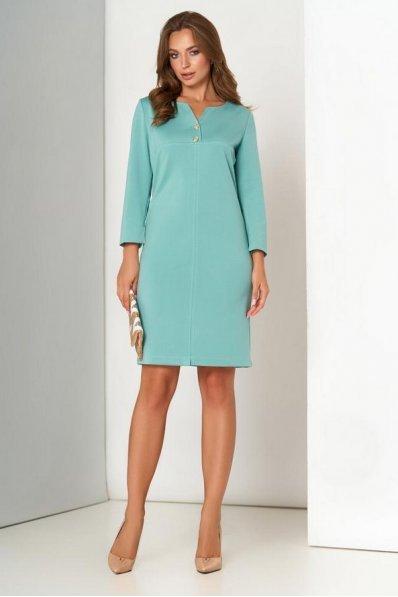 Мятное трикотажное платье  с  модельной кокеткой