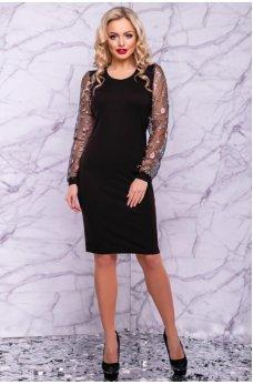 Черное вечернее платье с шифоновыми рукавами