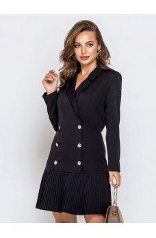Черное платье-пиджак с плиссированным низом