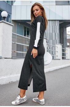 Длинное черно-белое платье спортивного стиля