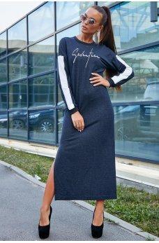 Длинное синее платье спортивного стиля