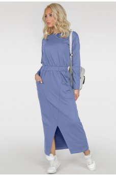 Длинное спортивное платье голубого цвета
