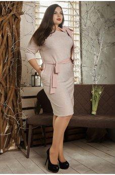 Нарядное платье с люрексом пудрового цвета размеры 50+