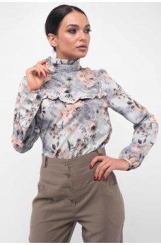 Нежная серая блуза с  воротником-стойкой