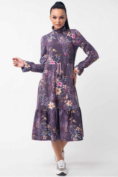 Платье миди фиолетового цвета стиль бохо
