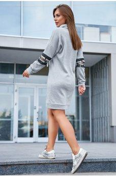 Сіре спортивне плаття з блискавкою на рукавах