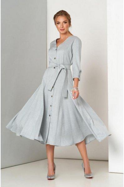 Шикарное льняное платье серого цвета с расклешенной юбкой