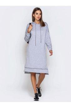 Вільне світло-сіре плаття з кишенями