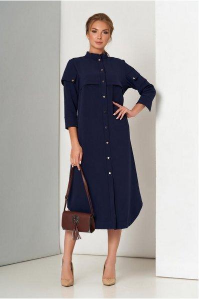 Темно-синее платье свободного покроя на кнопках