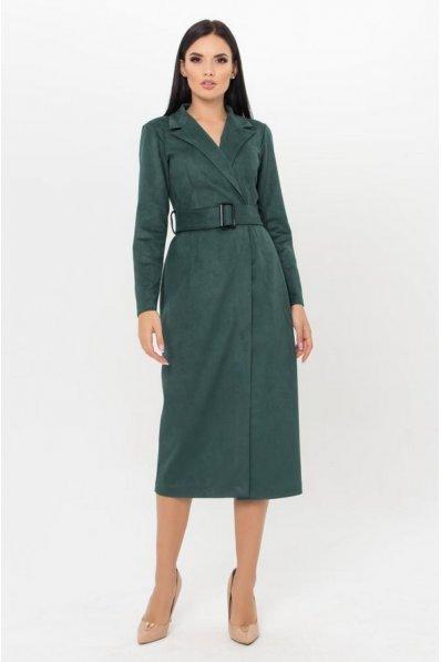 Замшевое офисное платье зеленого цвета